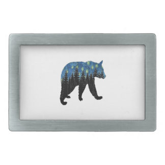 bear with fireflies rectangular belt buckle
