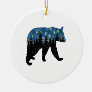 bear with fireflies round ceramic decoration