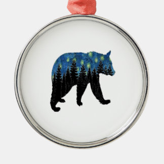 bear with fireflies Silver-Colored round decoration