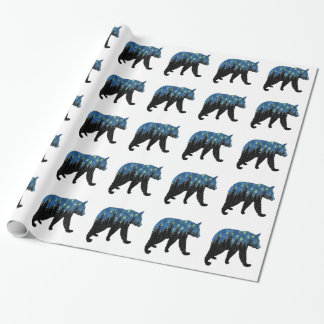 bear with fireflies wrapping paper