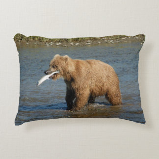 Bear with Fish Pillow