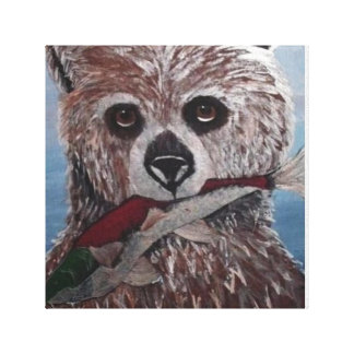bear with fish stretched canvas canvas print