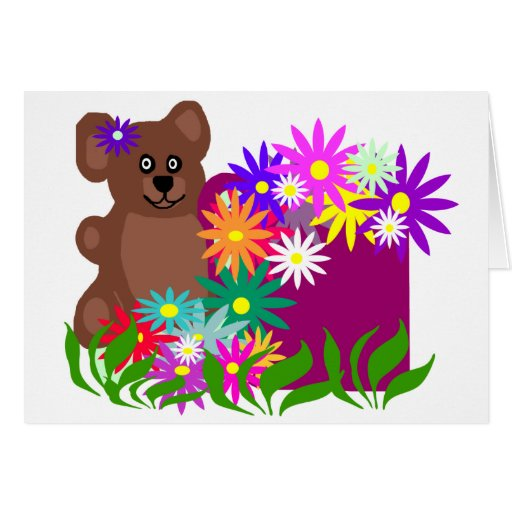 Bear with flowers in cup blank card