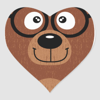 Bear with glasses heart sticker