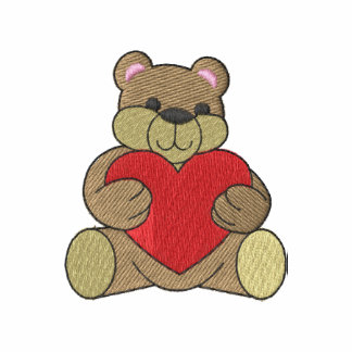 Bear with heart embroidered shirt