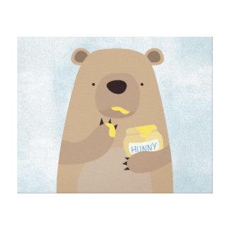 Bear with Honey jar Canvas Prints