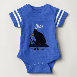 """Bear with me""...Black Bear at Night Baby Bodysuit"
