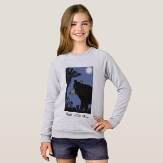 Bear with me...Cute Black Bear walking at Night Sweatshirt