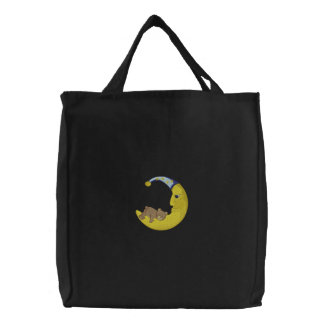Bear with moon embroidered bags