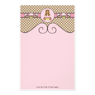 Bear With Pink Cupcake Brown Plaid Stationery