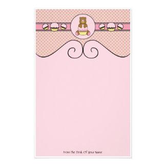Bear With Pink Cupcake Diamonds Stationery