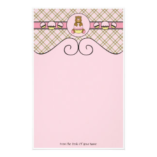 Bear With Pink Cupcake Pink Plaid Stationery
