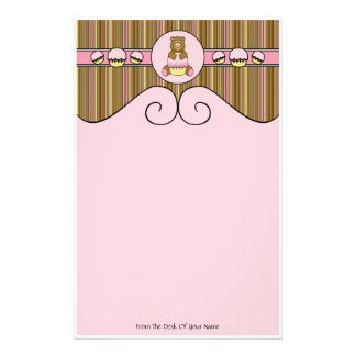 Bear With Pink Cupcake Vertical Stripes Stationery