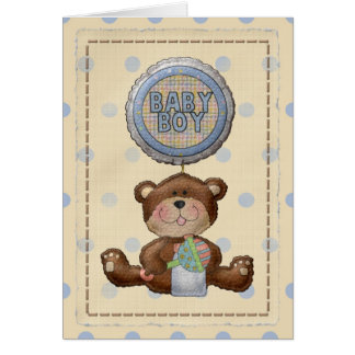 Bear with Rattle & Baby Boy Balloon Blank Card