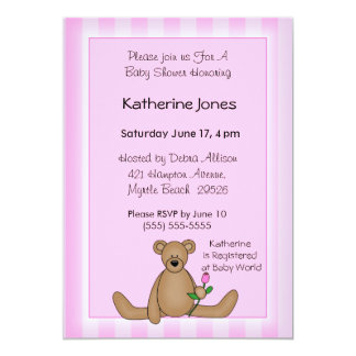 Bear With Rose  Baby Shower Invitations