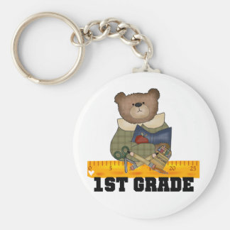 Bear with Ruler 1st Grade Tshirts and Gifts Keychains