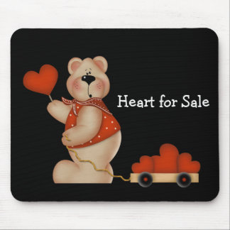 Bear with Wagon of Hearts - Heart for Sale Mouse Pad