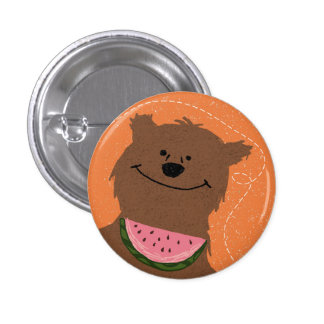 Bear with watermelon 3 cm round badge