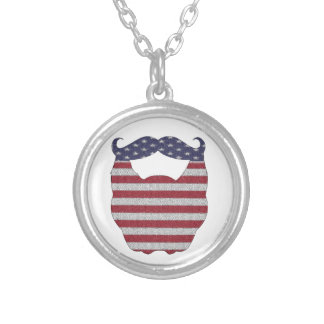 Beard And Mustache American Flag Necklaces