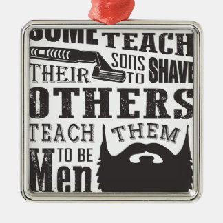 Beard, some father teach to shave others to be a m Silver-Colored square decoration