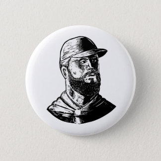 Bearded Chef Scratchboard 6 Cm Round Badge