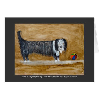 Bearded Collie and Ball Greeting Card