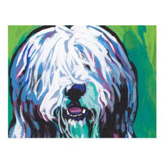 Bearded collie Bright Colorful Pop Dog Art Postcard