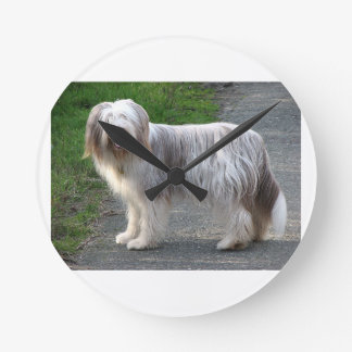 Bearded Collie Dog Round Clock