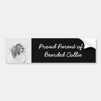 Bearded Collie Drawing - Cute Original Dog Art Bumper Sticker