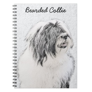 Bearded Collie Drawing - Cute Original Dog Art Notebooks