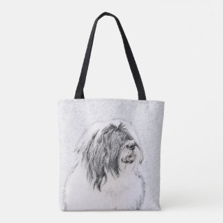 Bearded Collie Drawing - Cute Original Dog Art Tote Bag