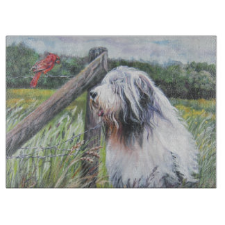 Bearded Collie Fine Art painting Cutting Board