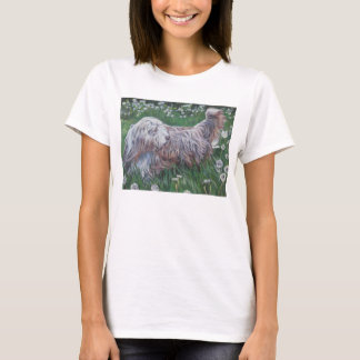 Bearded Collie Fine Art  painting on shirt