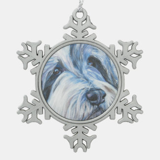 Bearded Collie Fine Art painting Snowflake Pewter Christmas Ornament