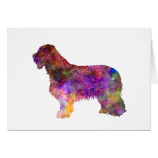 Bearded collie in watercolor card