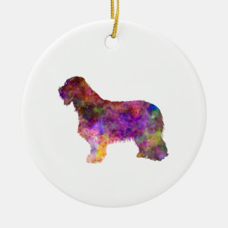 Bearded collie in watercolor round ceramic decoration