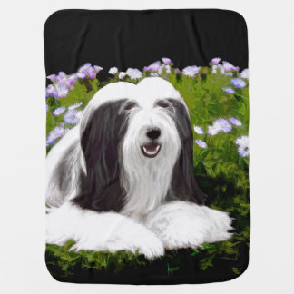 Bearded Collie (Painted) Baby Blanket