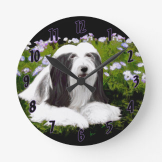 Bearded Collie (Painted) Round Clock
