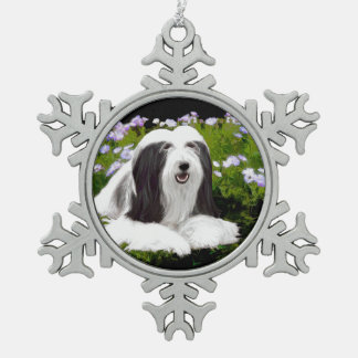 Bearded Collie (Painted) Snowflake Pewter Christmas Ornament
