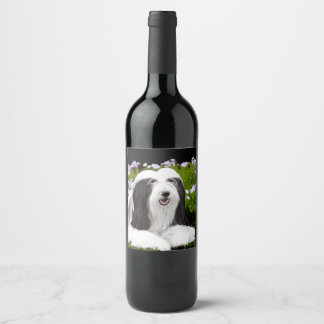 Bearded Collie (Painted) Wine Label