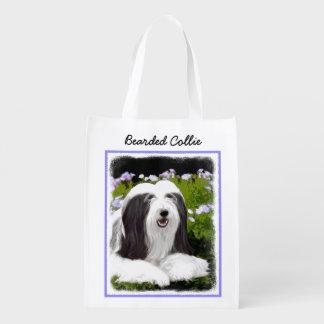 Bearded Collie Painting - Cute Original Art Reusable Grocery Bag