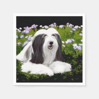 Bearded Collie Painting - Cute Original Dog Art Disposable Napkin