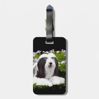 Bearded Collie Painting - Cute Original Dog Art Luggage Tag