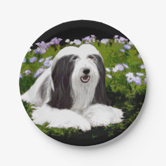 Bearded Collie Painting - Cute Original Dog Art Paper Plate