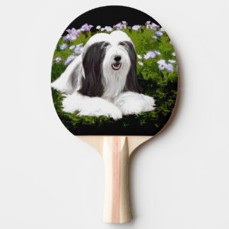 Bearded Collie Painting - Cute Original Dog Art Ping Pong Paddle
