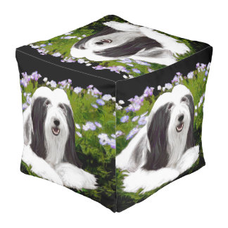 Bearded Collie Painting - Cute Original Dog Art Pouf