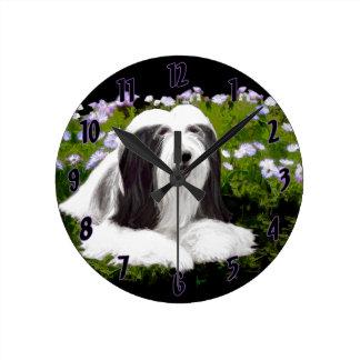 Bearded Collie Painting - Cute Original Dog Art Round Clock