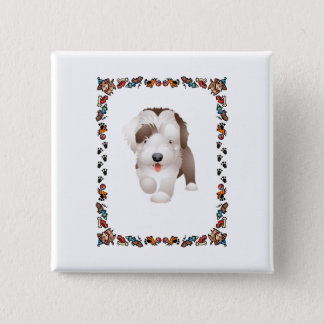 Bearded Collie Puppy 15 Cm Square Badge