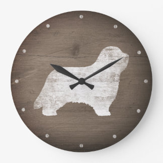 Bearded Collie Silhouette Rustic Style Large Clock