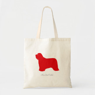 Bearded Collie Tote Bag (red silhouette)